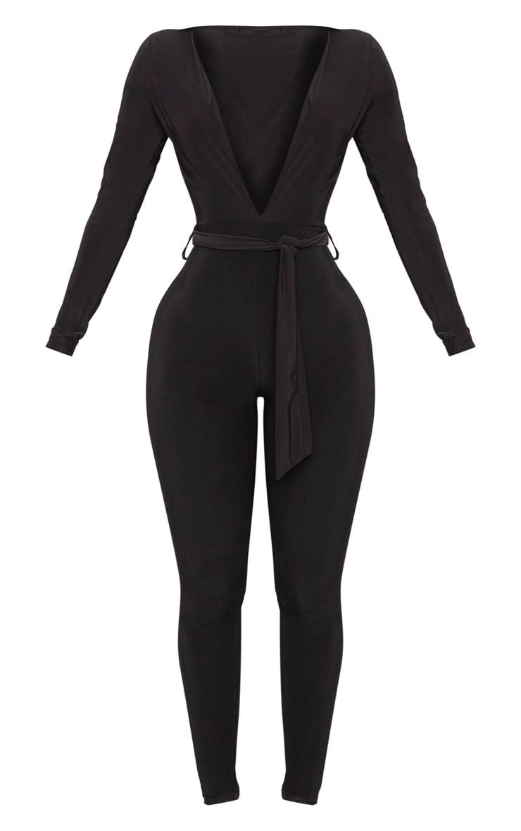 Shape Black Slinky Tie Waist Jumpsuit 3