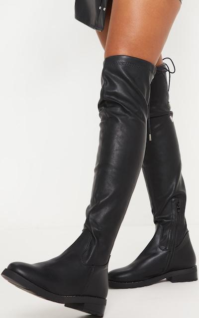 Black PU Studded Sole Flat Thigh Boot