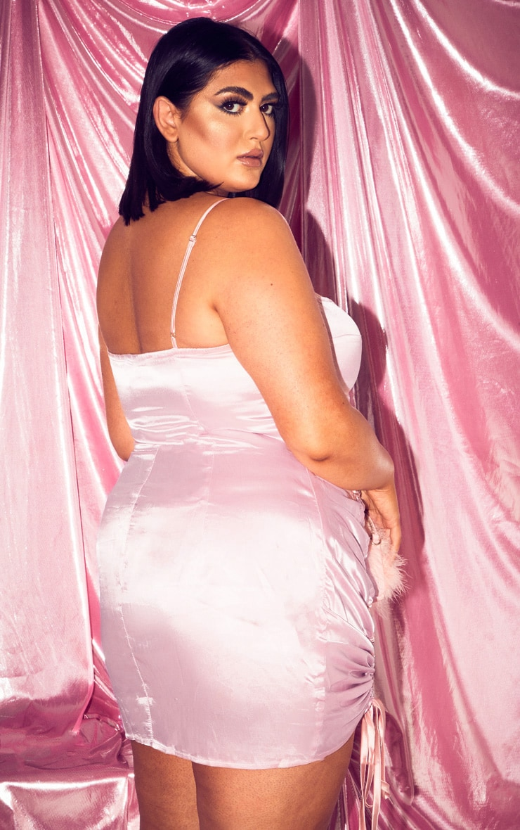Plus Baby Pink Satin Ruched Side Bodycon Dress 2