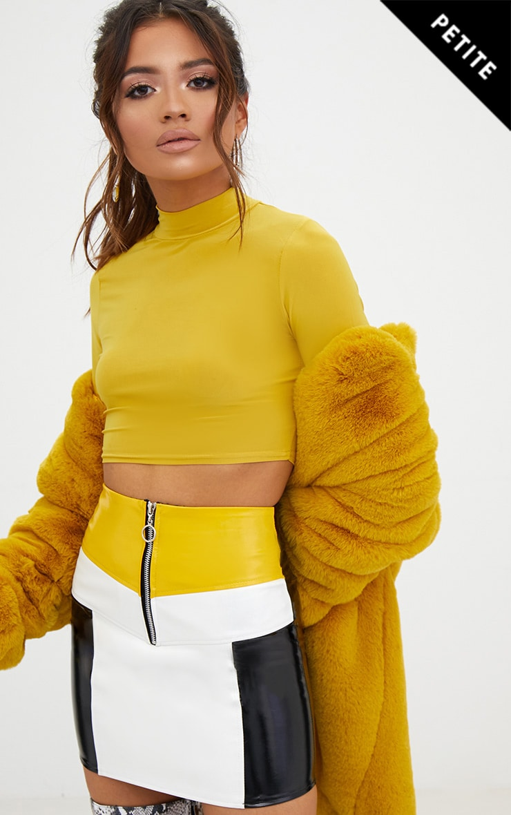 Petite Yellow Contrast Vinyl Mini Skirt