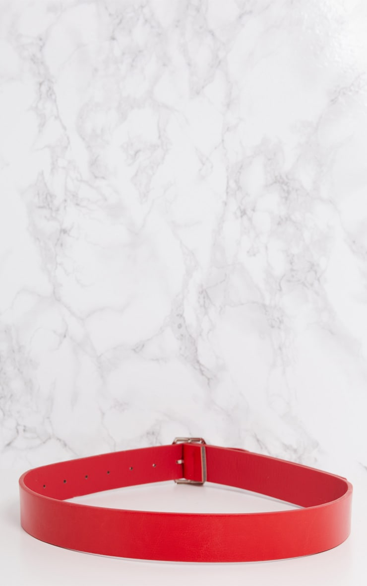 Red Basic Hexagon Buckle Belt 5
