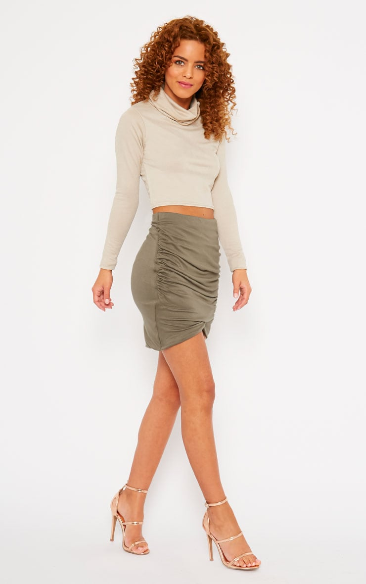 Khaki Jersey Ruched Mini Skirt 5
