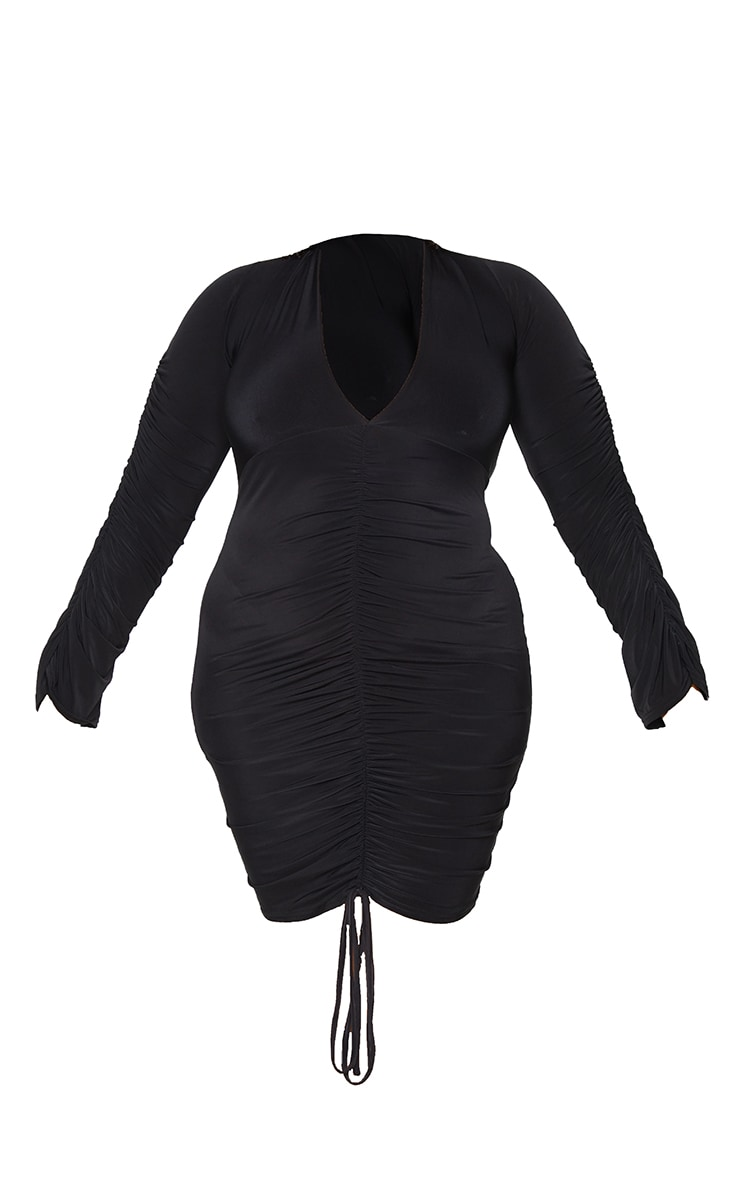Plus Black Slinky Ruched Front Long Sleeve Dress 5