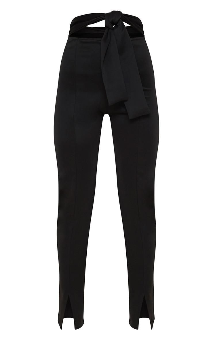 Black Scuba Cut Out Waist Band Tie Skinny Trouser 3