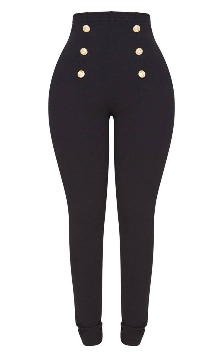 Shape Black Military Button Skinny Trousers 3