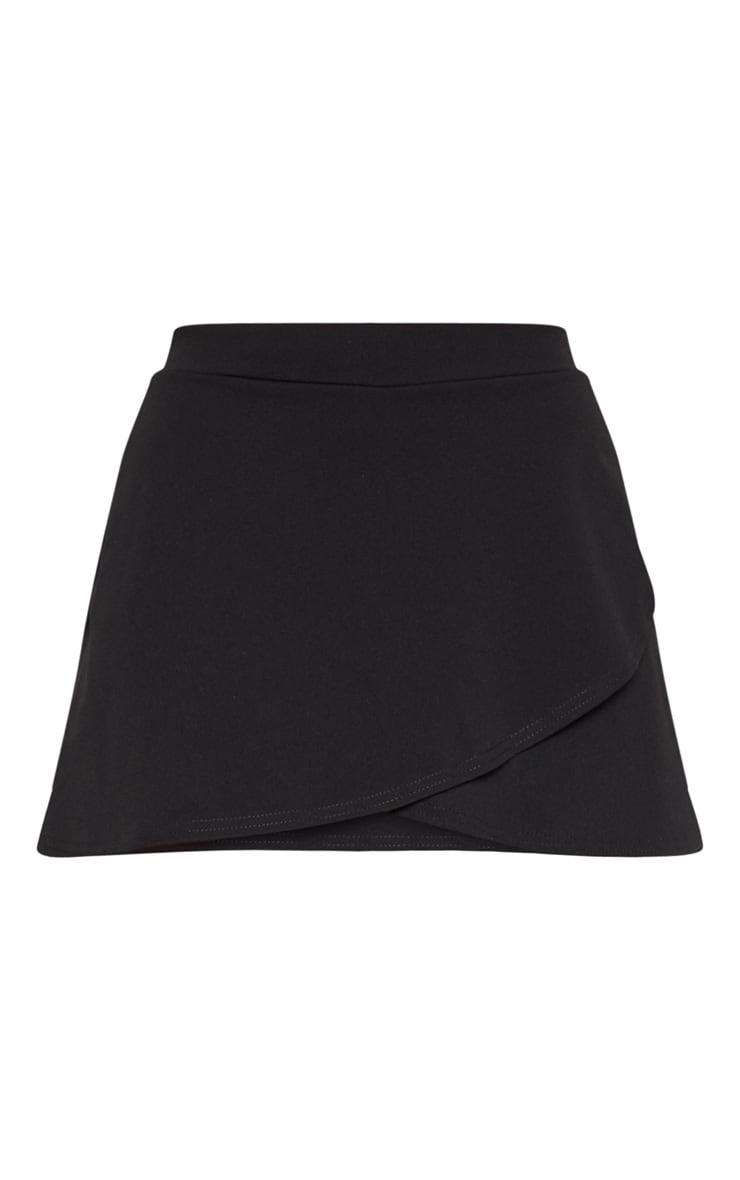 Black Double Wrap Front Skort 3