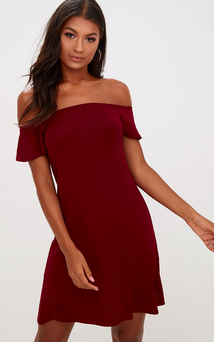 Manina Burgundy Jersey Bardot Shift Dress 1