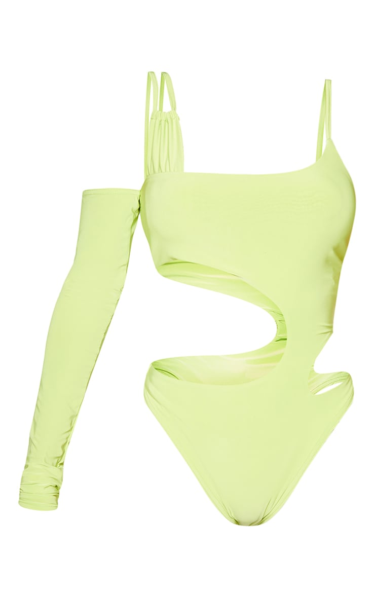 Shape Lime Slinky Asymmetric Detail Cut Out Bodysuit 5