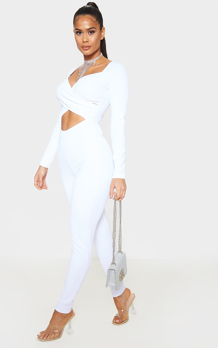 White Rib Cross Over Long Sleeve Jumpsuit 4