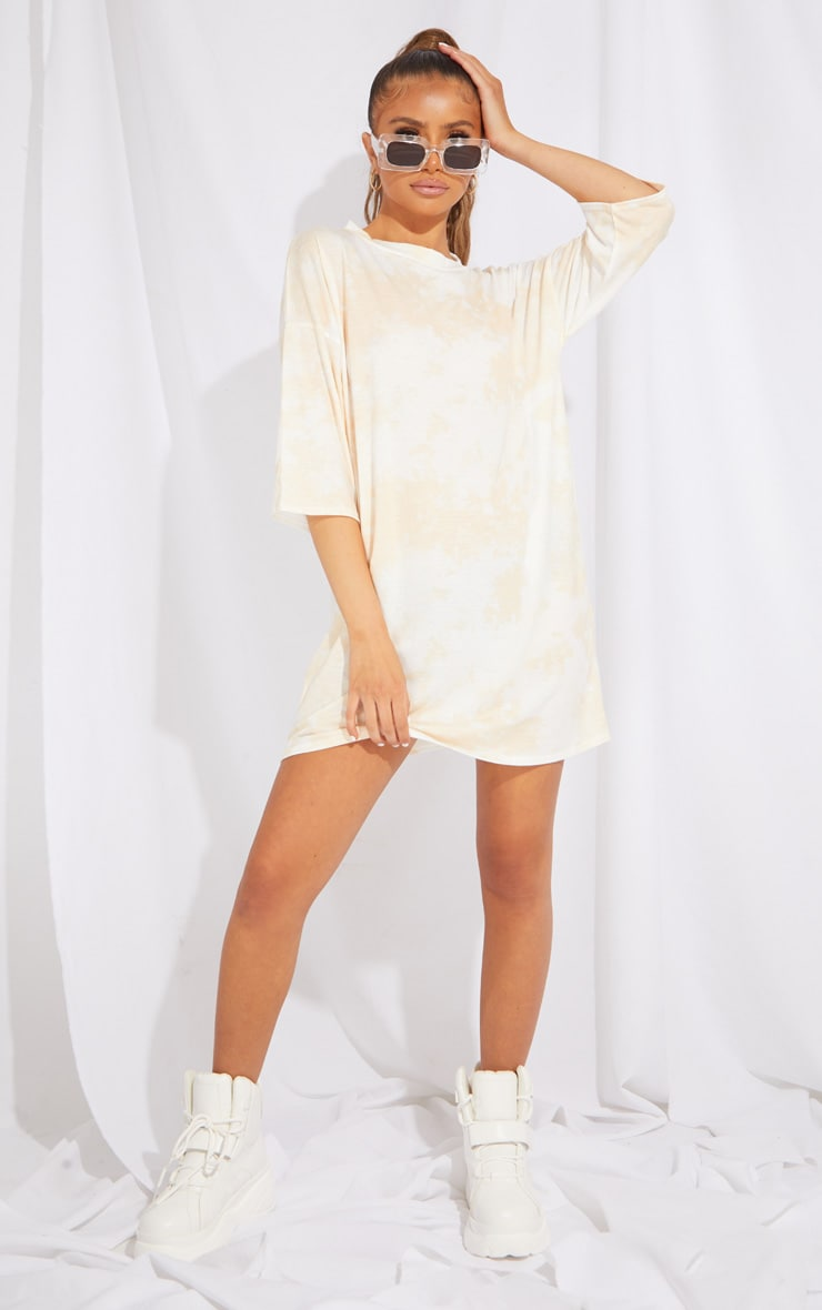 Petite Sand Tie Dye Oversized Boyfriend T Shirt Dress 3