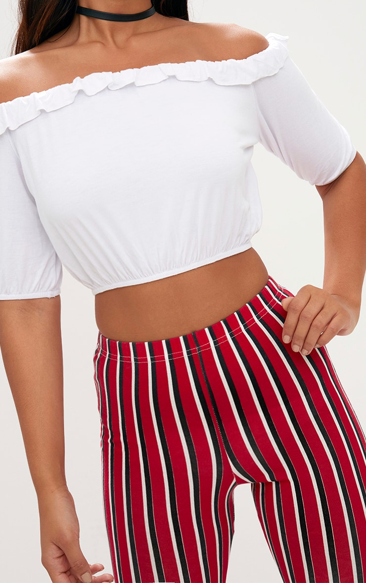 White Jersey Bardot Frill Crop Top 5