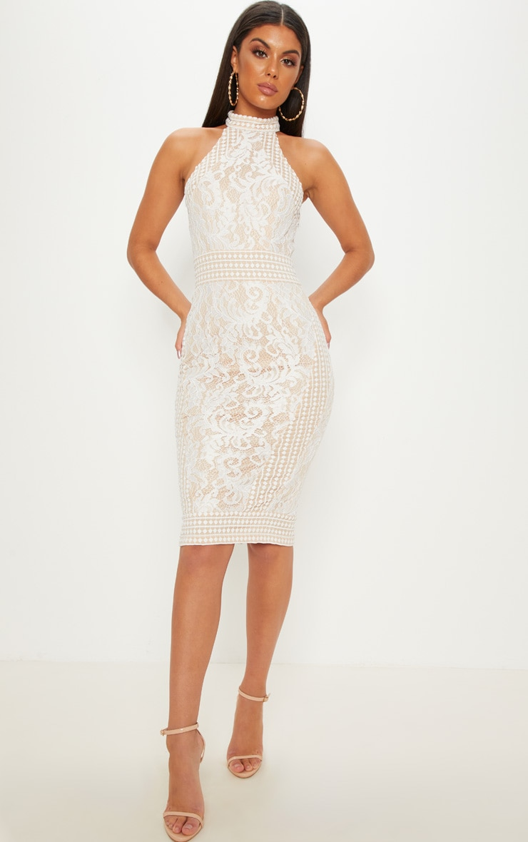 White Lace Crochet High Neck Midi Dress 1