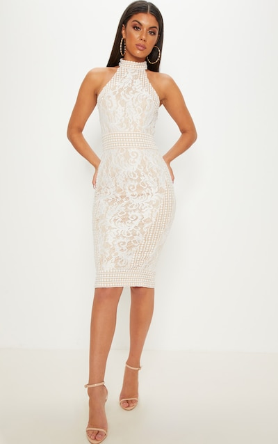 b4eee32bf11f White Lace Crochet High Neck Midi Dress