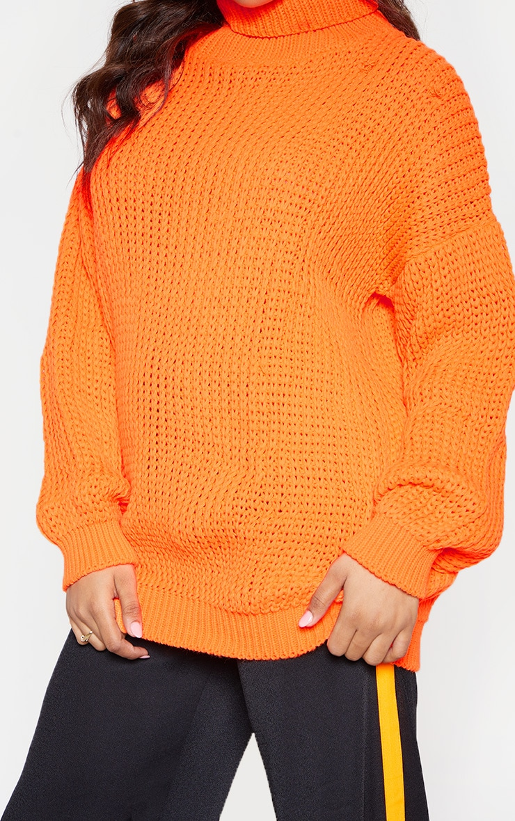 Tall Neon Orange Roll Neck Oversized Chunky Knit Jumper 5