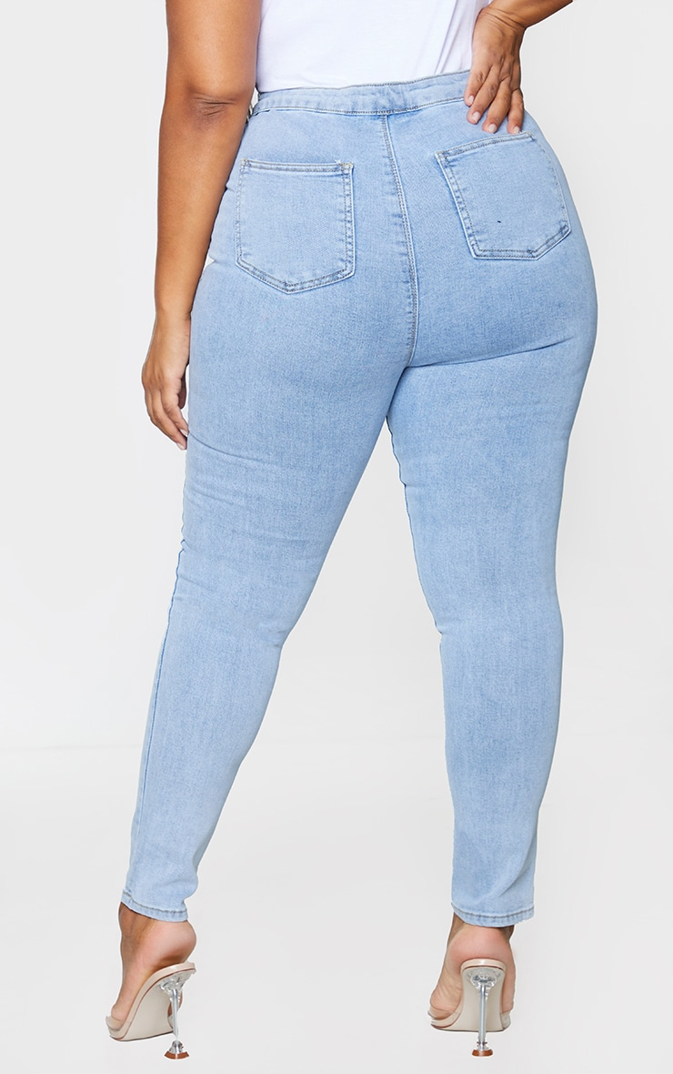 PRETTYLITTLETHING Plus Vintage Wash Distressed Disco Skinny Jean 3