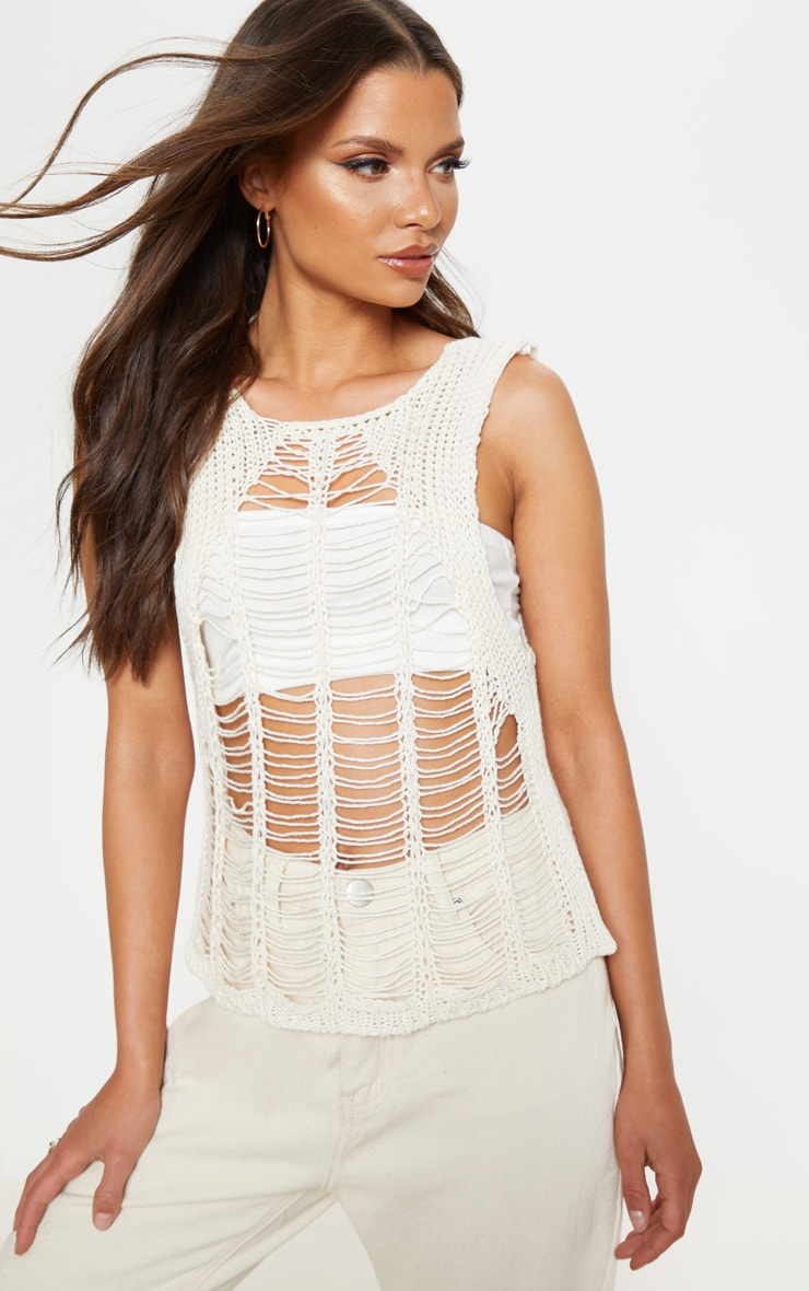 Cream Crochet Ladder Detail Vest Top  1