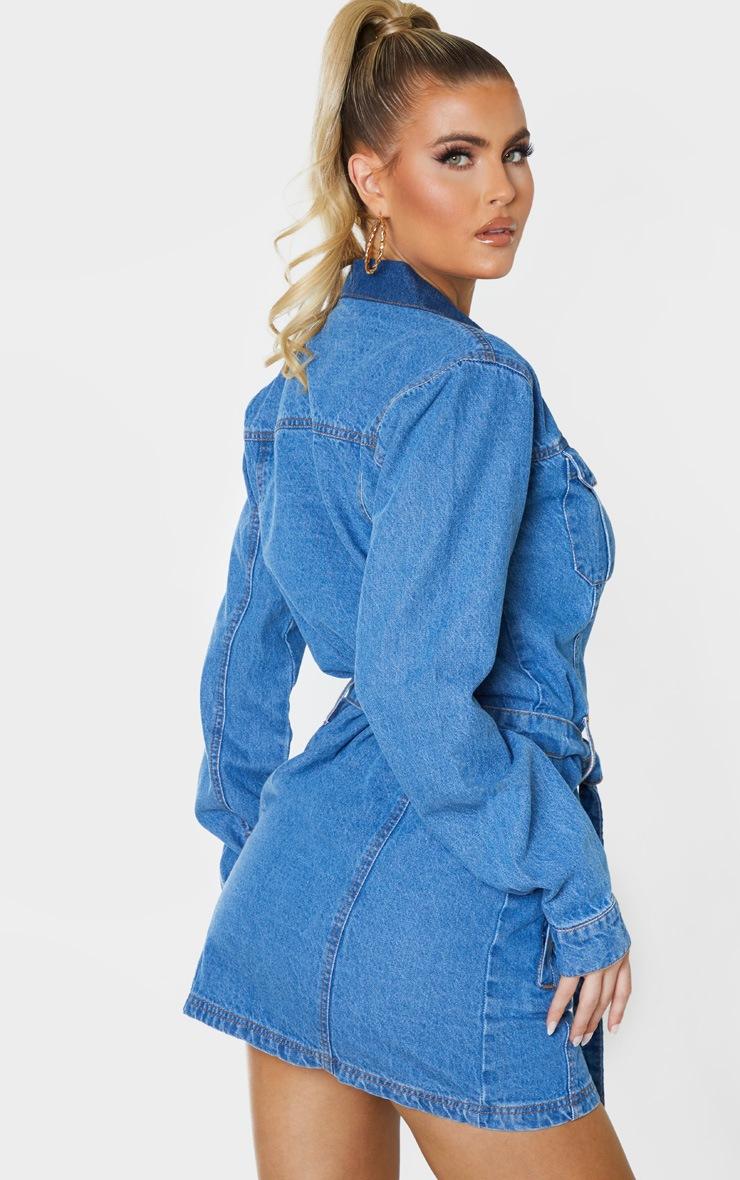 Tall Blue Washed Belted Denim Shirt Dress 2