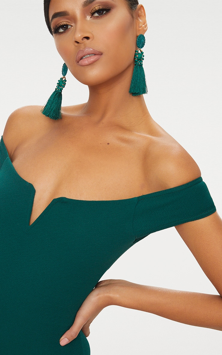 Emerald Green Bardot V Bar Crepe Thong Bodysuit 6