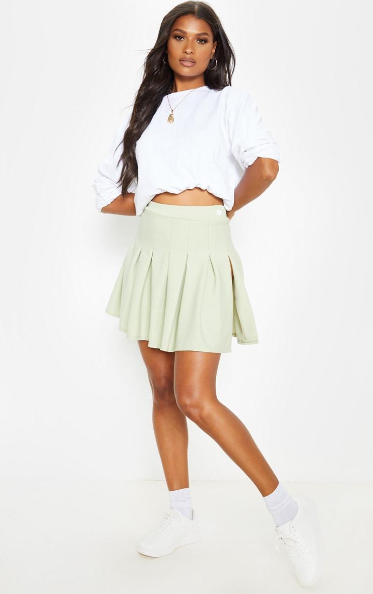 Sage Khaki Pleated Side Split Tennis Skirt 5