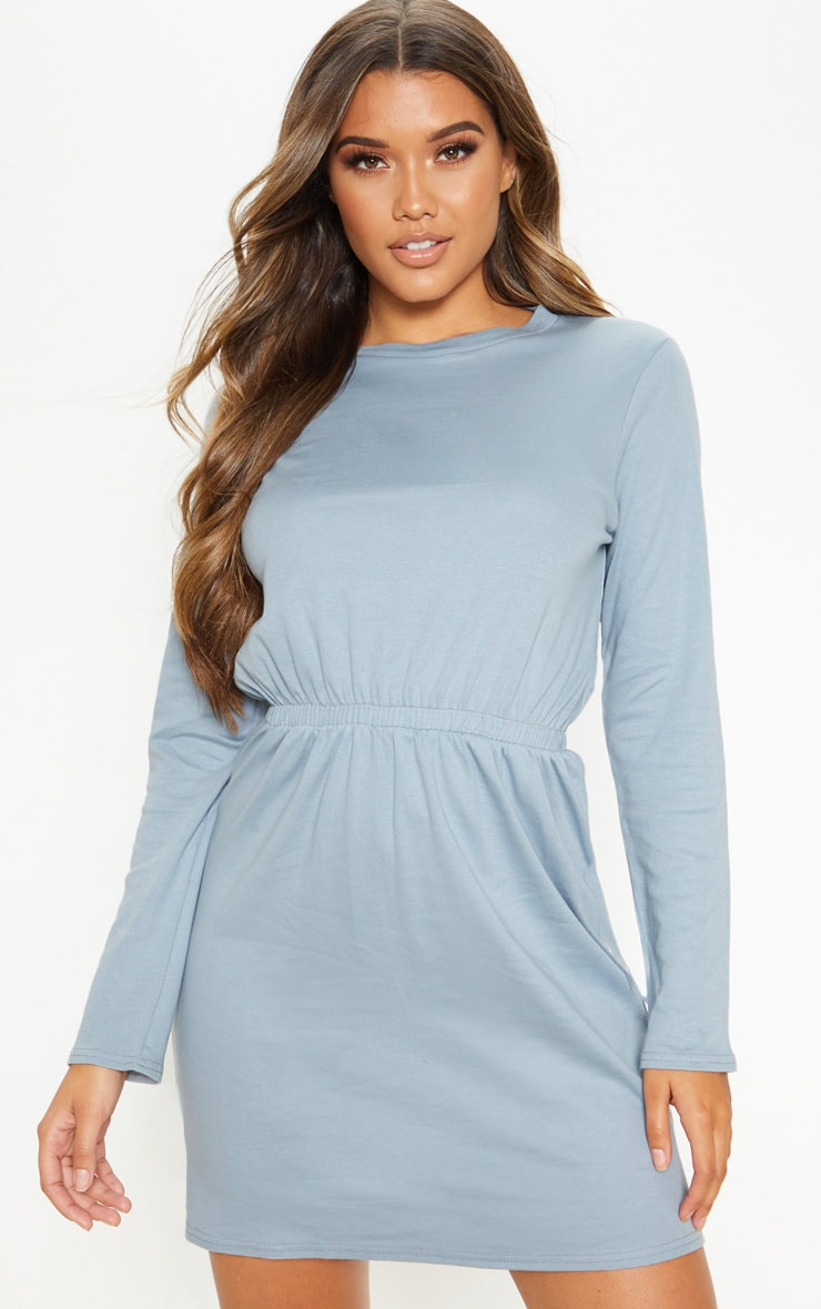 Lead Grey Elasticated Waist Long Sleeve T Shirt Dress 1