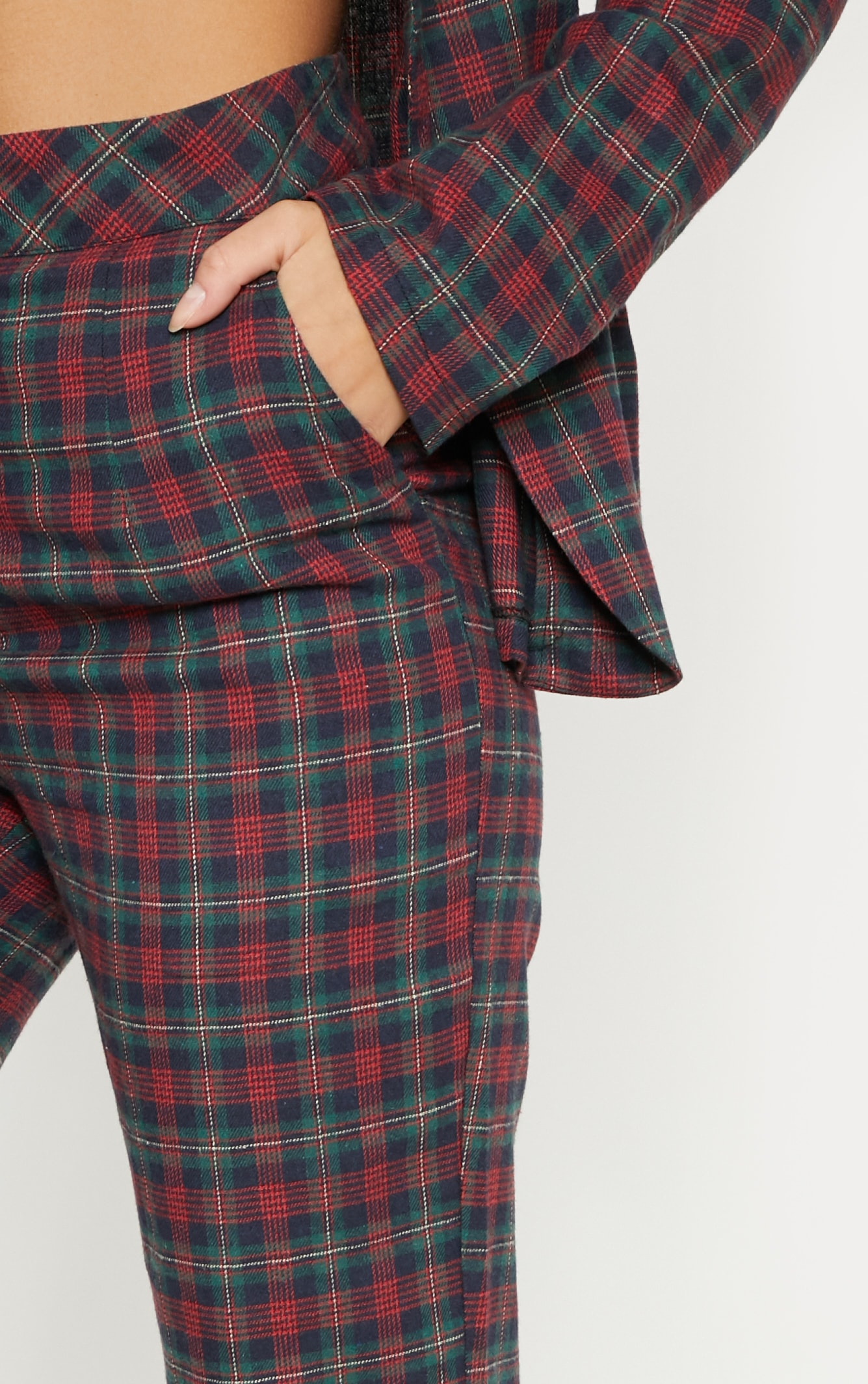 Multi Tartan Print High Waisted Flare Leg Trouser 5