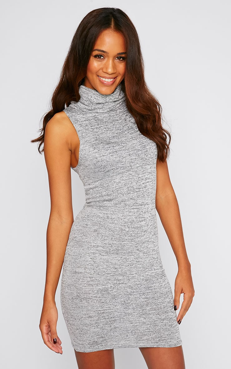 Hazel Charcoal Marl Roll Neck Knitted Dress 3