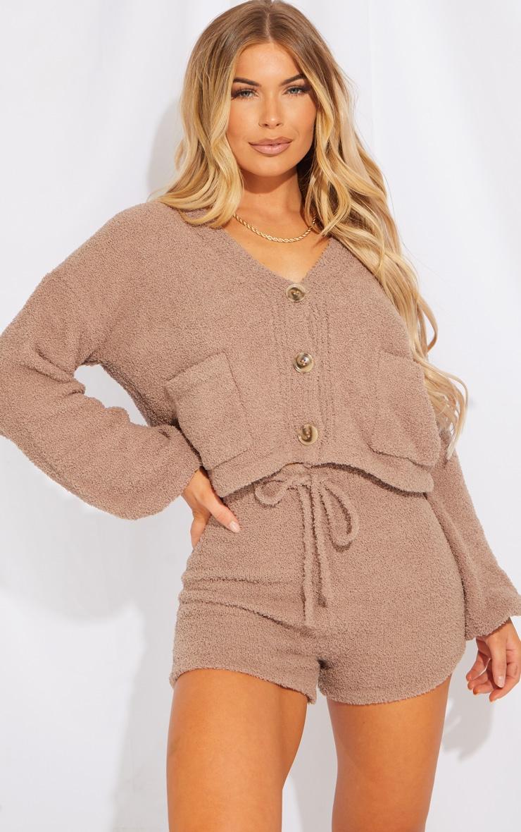 Brown Premium Fluffy Knit Cardigan Shorts Lounge Set 1