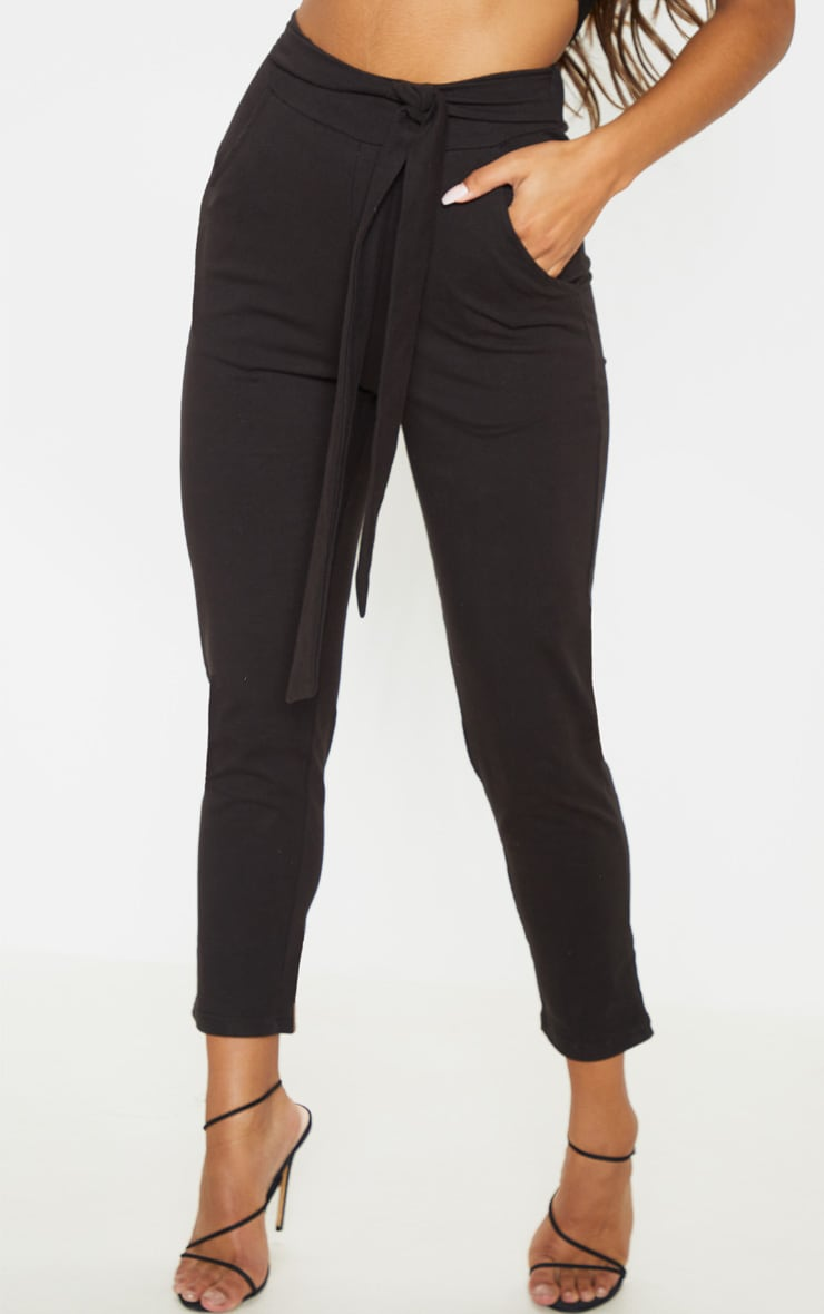 Black Cotton Tie Waist Skinny Trouser 2