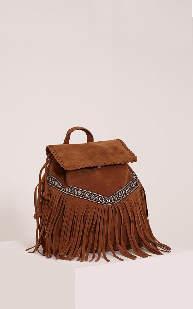 Preya Tan Faux Suede Aztec Fringed Backpack 1