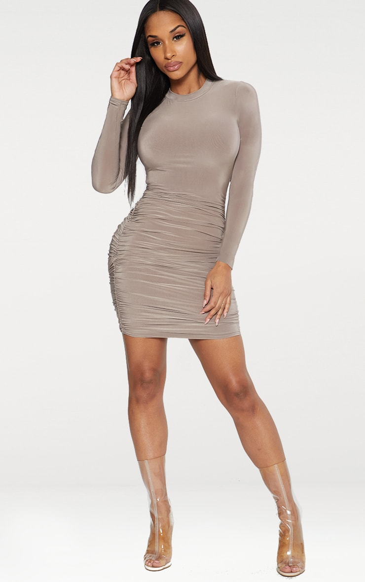 Taupe Second Skin Slinky Long Sleeve Ruched Bodycon Dress 3