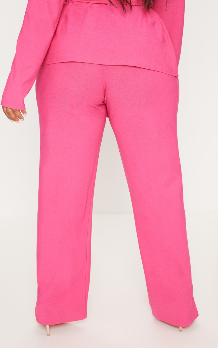 Plus Hot Pink High Waisted Wide Leg Trousers 4