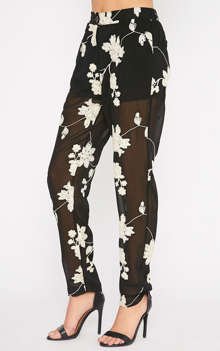 Aithne Black Floral Embroidered Sheer Trousers 5