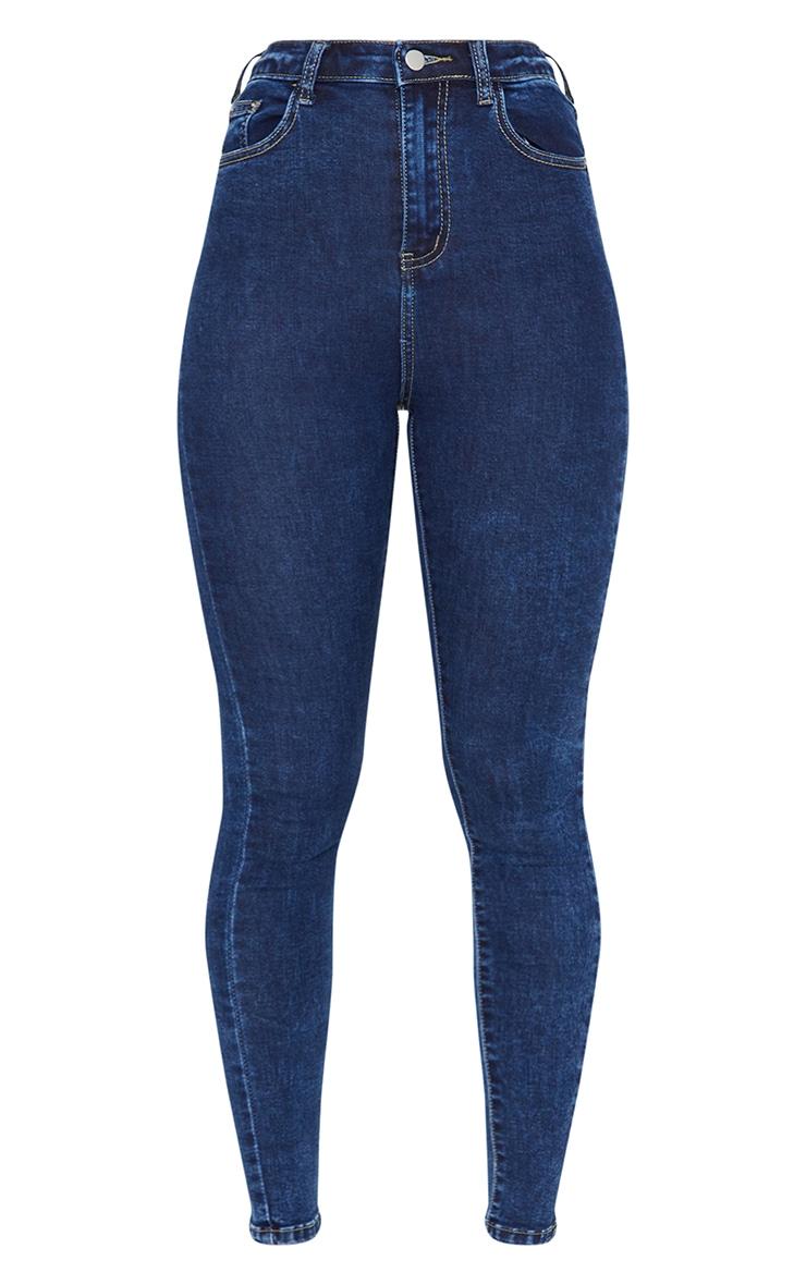 PRETTYLITTLETHING Washed Indigo 5 Pocket Skinny Jeans 5