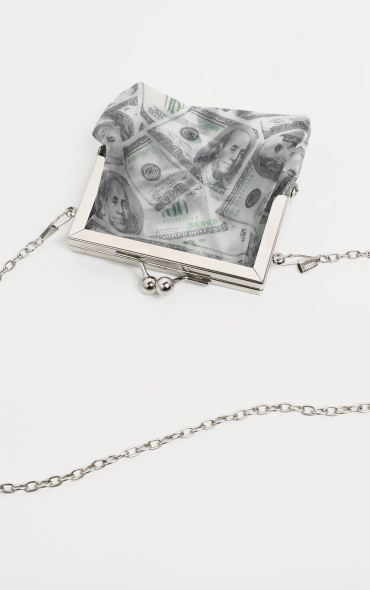 Grey 100 Dollar Bill Pouch Bag  4