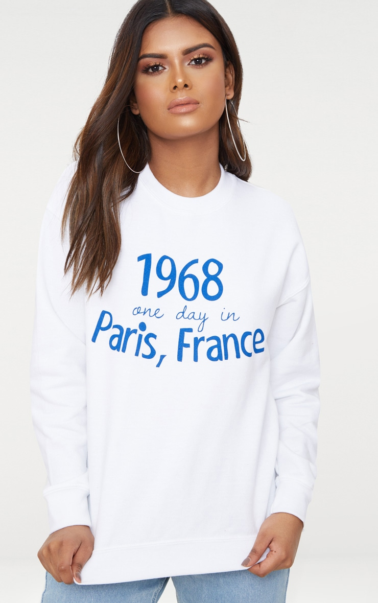Petite White Paris Slogan Sweater 1