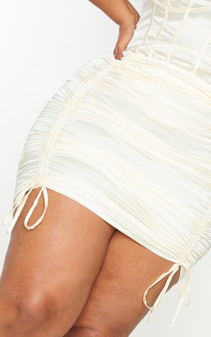 Plus Cream Satin Ruched Skirt 5