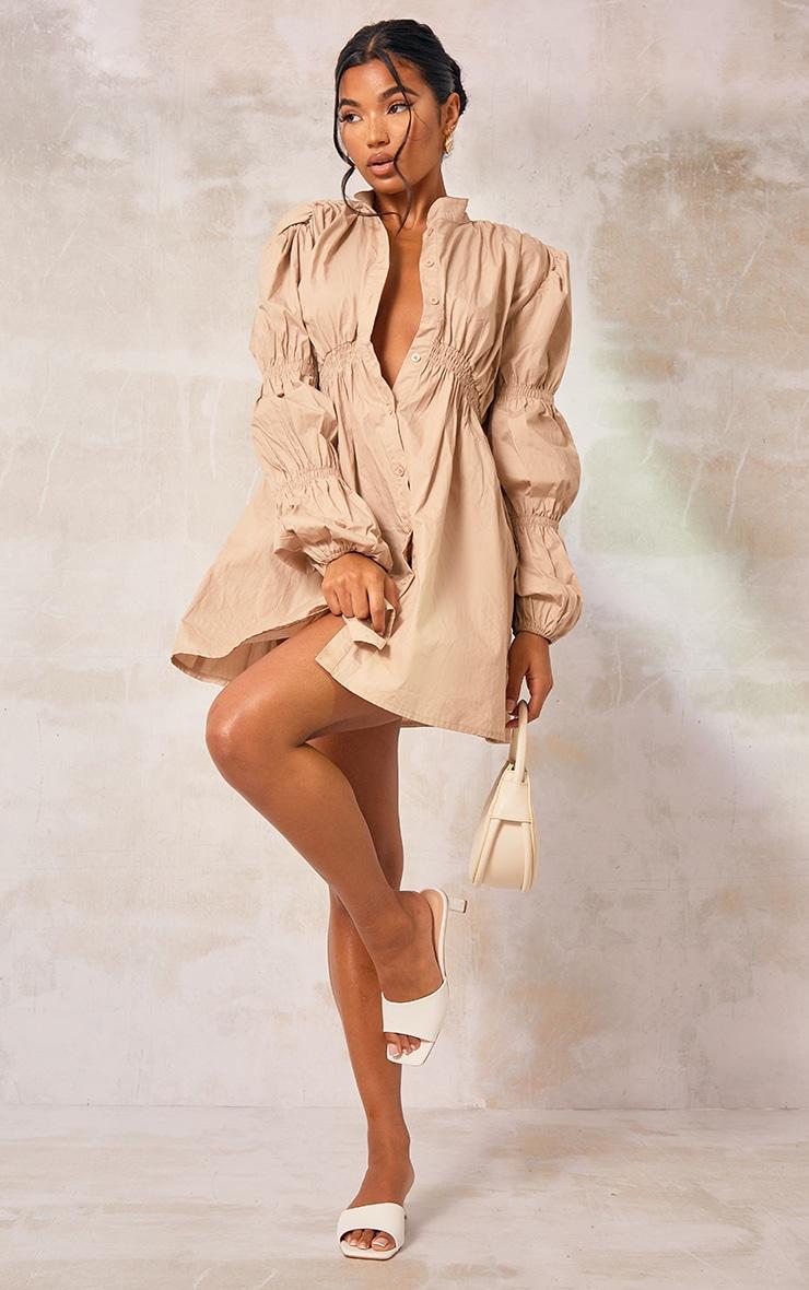 Stone Cotton Ruched Arm Detail Shirt Dress 3