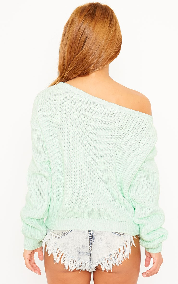 Rosalina Mint Off The Shoulder Crop Jumper 2