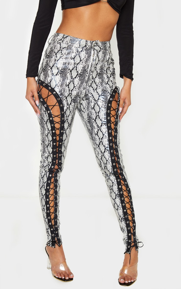 Black Lace Front Snake PU Skinny Trousers 2