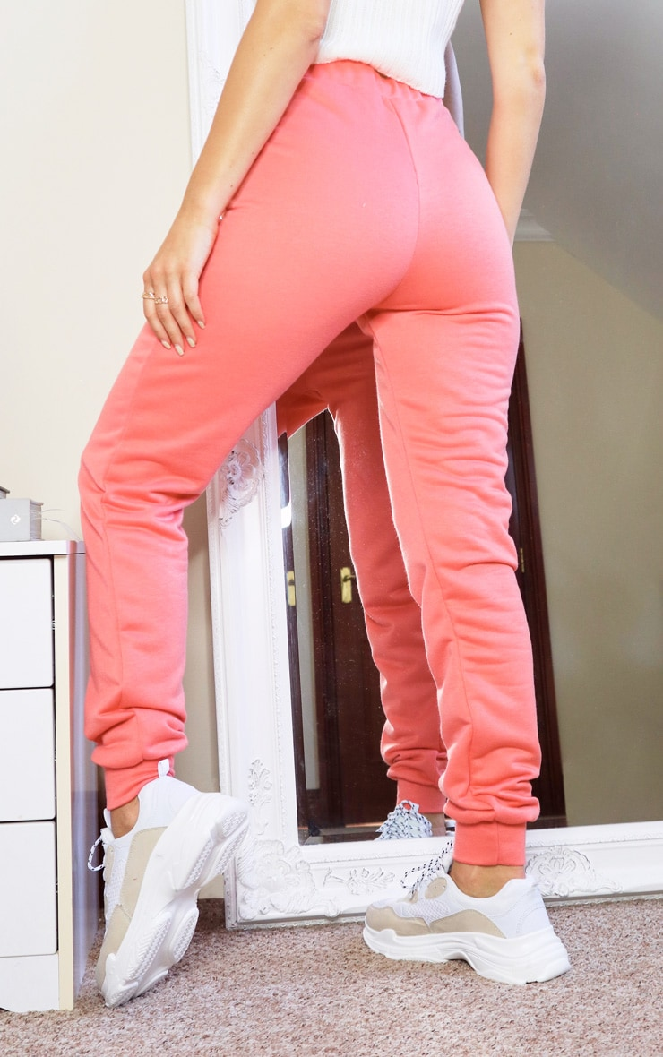 Basic Coral Skinny Joggers 3