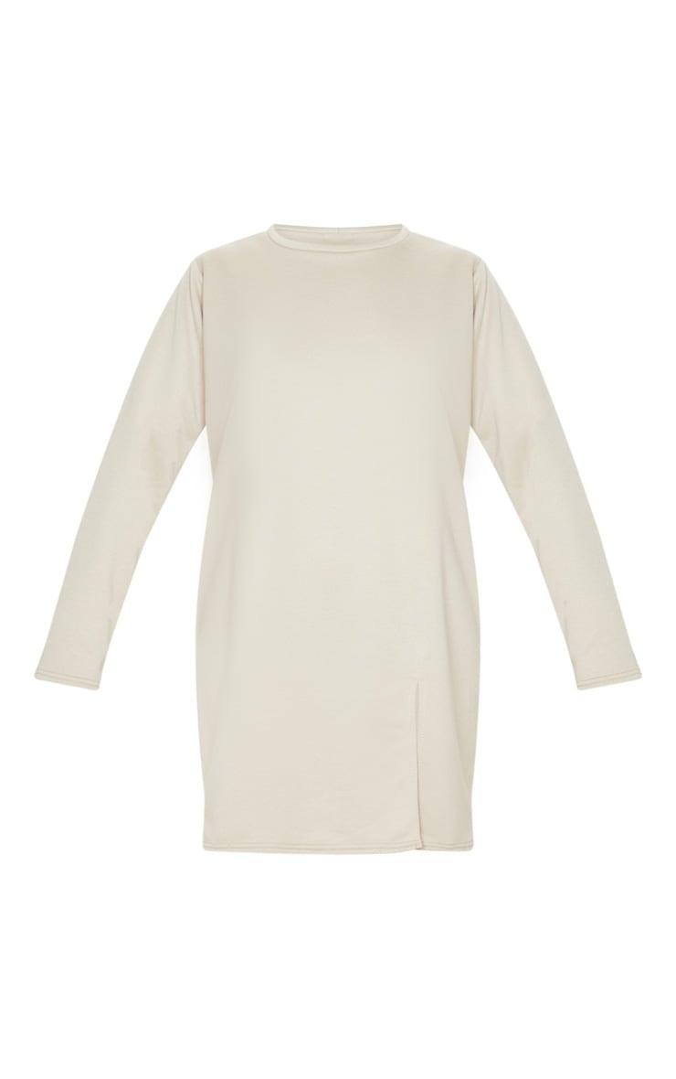 Beige Long Sleeve Split Hem Sweater Dress 4