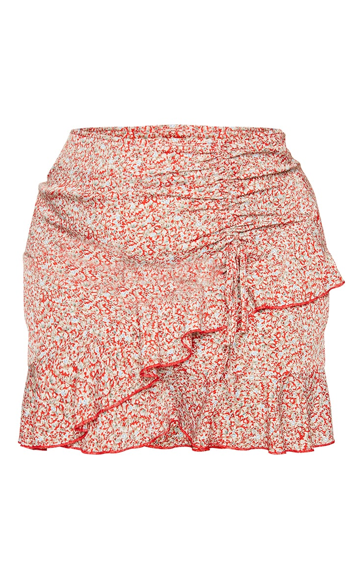 Plus Red Floral Frill Skirt 6