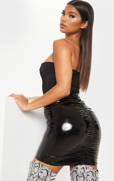 Black Vinyl Ruched Bum Mini Skirt