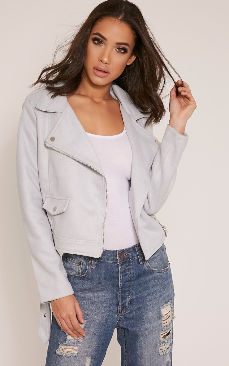 Sabella Dusty Blue Faux Suede Biker Jacket 1