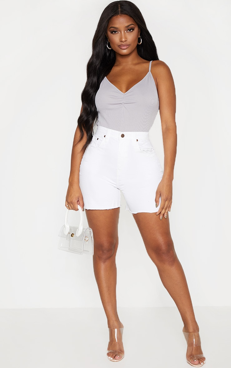 Shape Grey Strappy Ruched Front Bodysuit 3