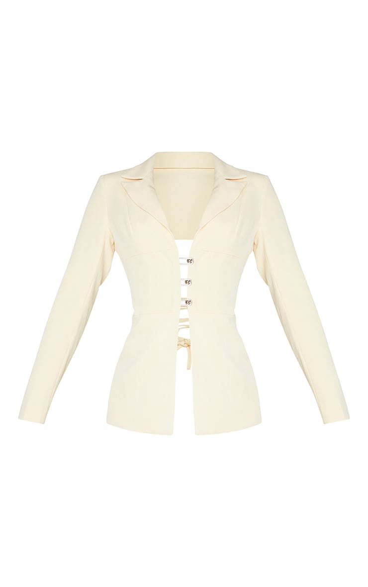 Cream Fitted Lace Up Back Blazer 5