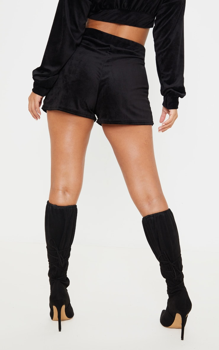 Petite Black Floaty Velour Shorts 3