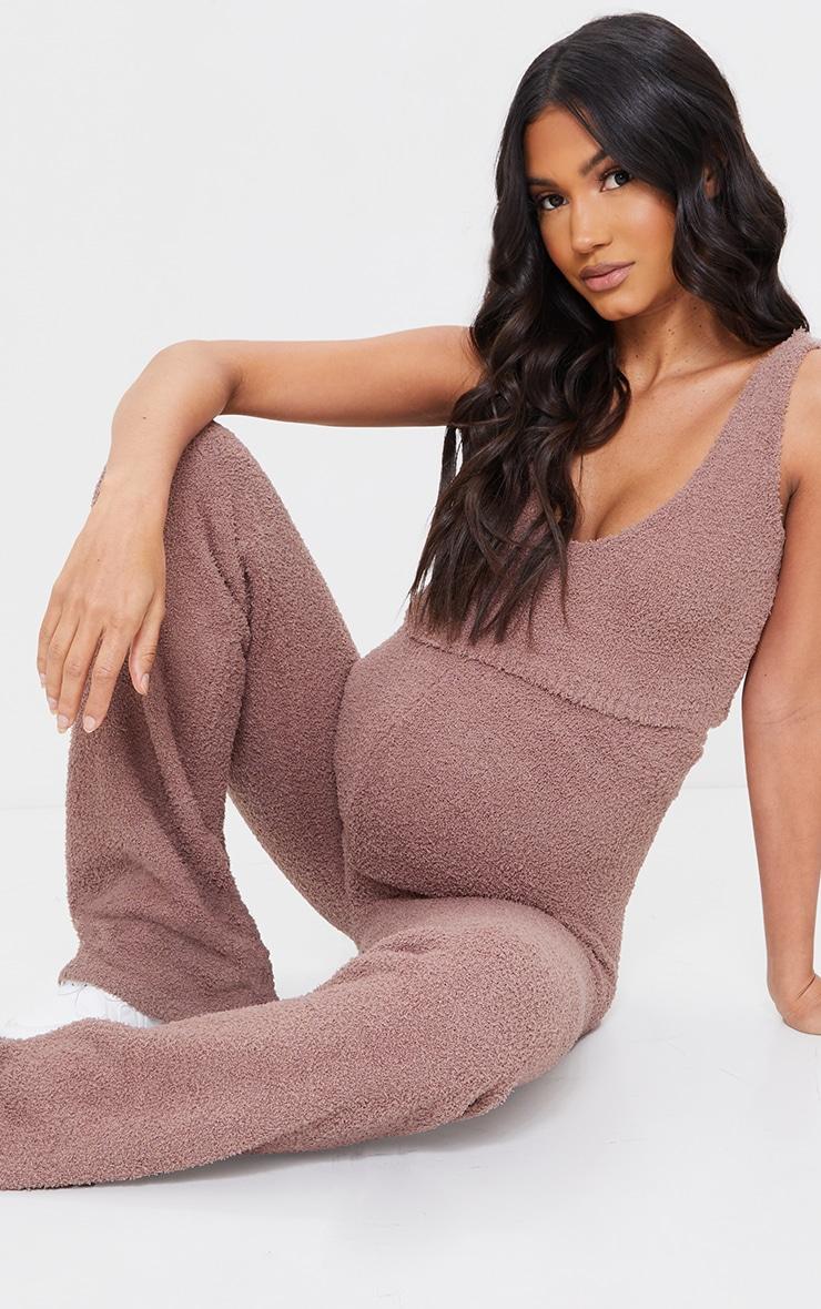 Maternity Camel Chenille Bralet And Wide Leg Trouser Lounge Set 3