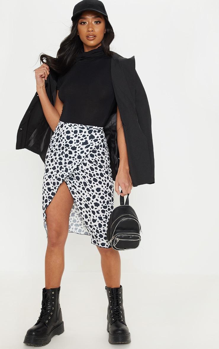 Petite Black Short Sleeve Basic Roll Neck Bodysuit 5