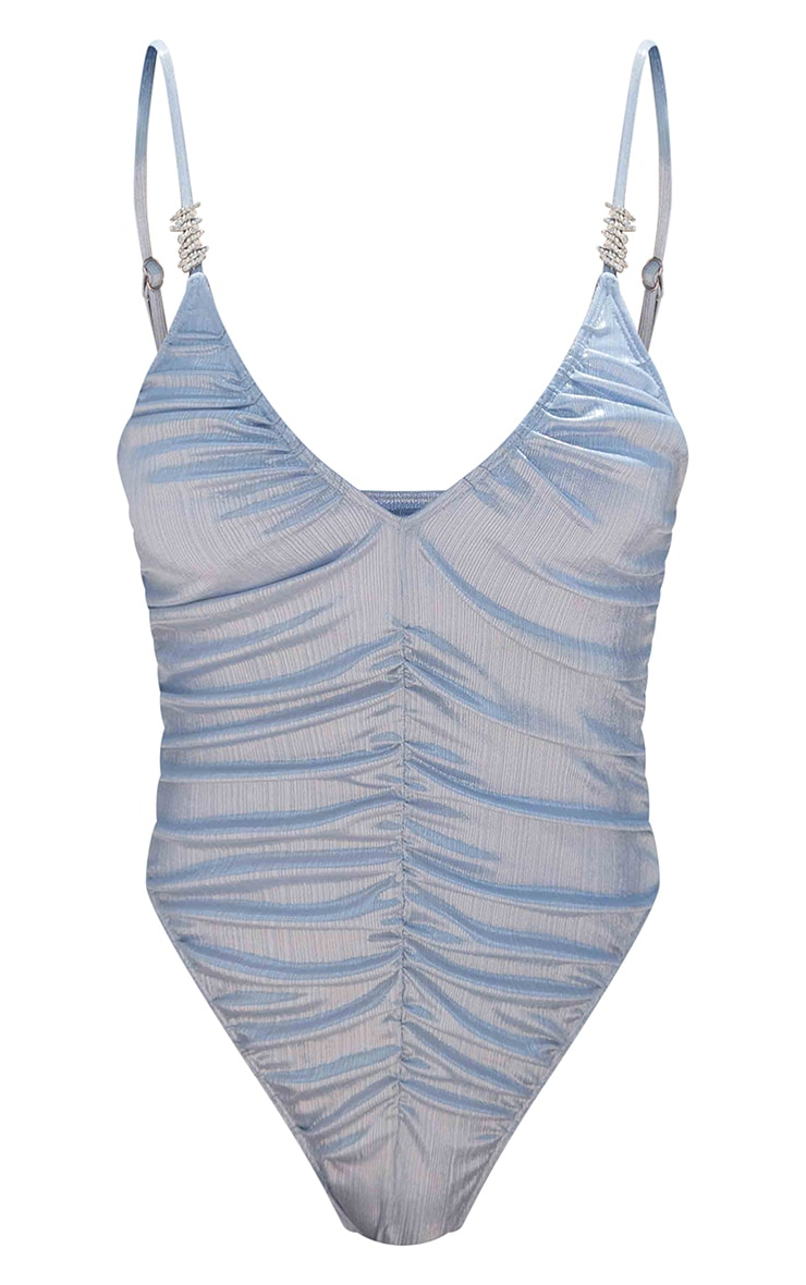 Baby Blue Shiny Textured Ruched Diamante Trim Swimsuit 5